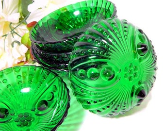 Six Hocking Glass Emerald Green Burple Footed Fruit Bowls