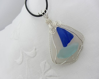 Beach Glass, Wire Wrapped Pendant