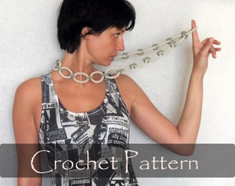 CROCHET PATTERN - Summer Crochet Chain Necklace Pattern Loops Necklace Pattern Crochet Jewelry Tutorial Trendy Necklace PDF - P0024