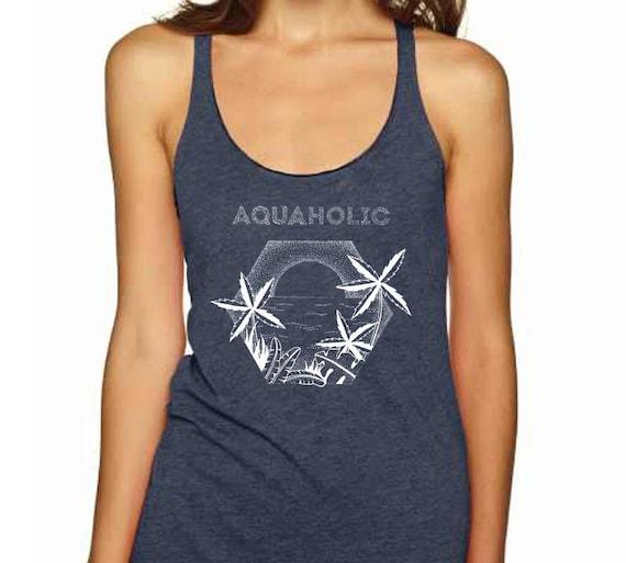 Aquaholic | Ladies Racerback Tank Top | Beach shirt | Surfing Tee | Palm trees | Tattoo style | Original artwork | Ocean sunset | ZuskaArt