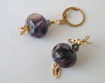 Earrings: soft purple Arabesques on pink