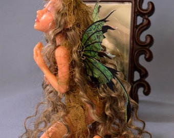 Vintage 1995 Limited Edition Lumicast resin Dream Keeper Fairy Fairae Artist Doll Gray and Gold by Artist Stevi T