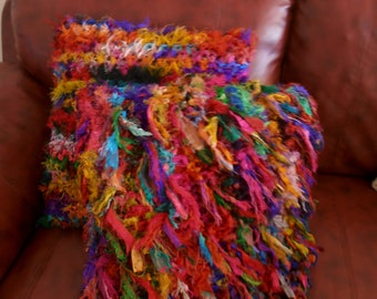 recycled silk cushion cover/ crocheted tattered rag pillow cover/ teal turquoise orange green