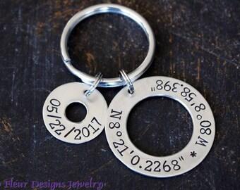 Custom Coordinates Key chain, Personalized Latitude Longitude Keychain, Custom Coordinates and Date Keychain