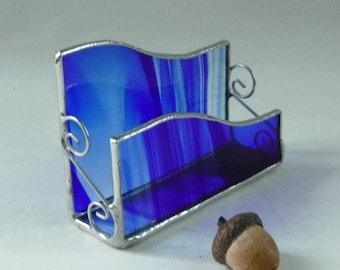 Stained glass business card holder - cobalt blue glass, desk organizer, business card holder, gift for boss, new business gift, desk set