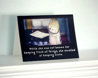 "Typographic Greeting Card Adventures of Claudia Antique Bisque Doll ""Keeping Score"" Funny Notecard"