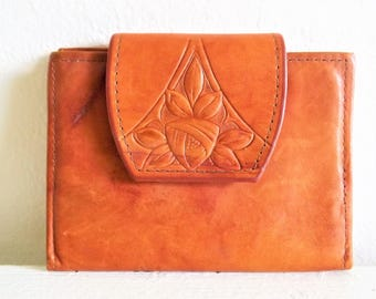 Lovely Vintage Rolfs Tooled Leather Cowhide Billfold Wallet