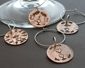 Copper wine glass charms - joy - love - hearts - butterflies - ladybugs - fun wine glass charm set of four