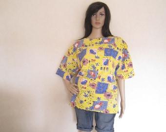 True vintage 80s shirt fruit cotton oversize