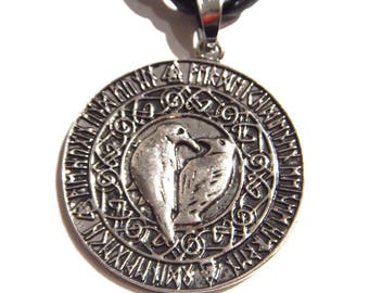Round Odin's Ravens Coin Amulet Pendant on Black Braided  Cord Necklace 3R