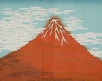 Tenugui Hokusai's 'Aka Fuji' Cotton Japanese Fabric w/Free Insured Shipping