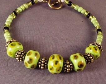 Frog Pond lampwork bead bracelet