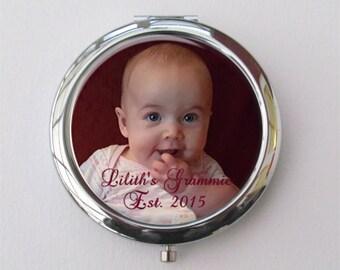 Compact Mirror, Grandma Gift, Personalized Photo Gift For Grandma