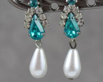 Vintage White Pearl Teardrop Teal Blue and Clear Rhinestone Pierced Earrings