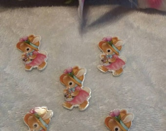 Set of 5 easter bunny plastic flat back resins.