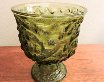 Mid-Century, Vintage E.O. Brody Green Footed Vase Crinkle Glass
