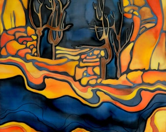Navy blue and orange scarf . Abstract trees and mountains . Hand painted silk scarf. Made to order