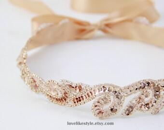 Blush, Vintage Peach Color Sequins Lace Headband, Bridal Blush Headband, Bridesmaid Peach Sash, Flower Girl Sash, Blush Lace Headband