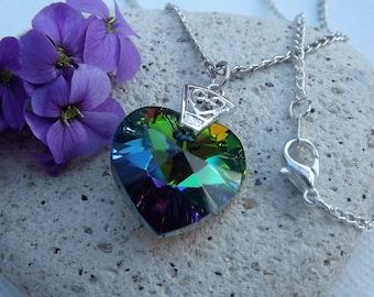 Swarovski Rainbow Green (Vitrail Medium) 18mm Crystal Heart Pendant (style 10)