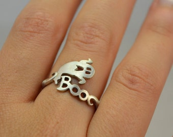 BOO Wrap Ring Halloween Jewelry Ghost Ring Gift for Halloween Night Sterling Silver 925 Funny Cool Halloween Gift Idea BOO Ghost Jewelry