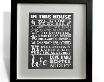 In This House, House Rules, Special Needs, Digital Print, Subway Art, Home Decor, Sign, Down syndrome, Autism, Chalk Art