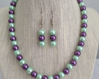 Purple and Mint Green Pearl Necklace, Bridesmaid Necklace, Lavender and Mint Jewelry, Spring Wedding, Bridesmaid Sets, Bridesmaid Gift