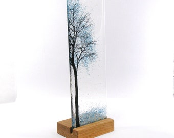 Fused Glass Blue Tree, bubble effect, wood stand, 22.5cm x 7.5cm Kiln Formed Gift Free Standing, Fused Glass Art