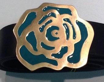 Rose Buckle leather belt