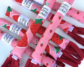Strawberry Cat Kicker| Cat Toys | Organic Catnip | Pink | Strawberry Cat Toy | Vegan Cat Toy | Kitten Toy | Catnip Kicker  | Miso Handmade