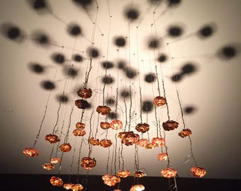 Metal and Paper Copper Flower Ceiling Sculpture