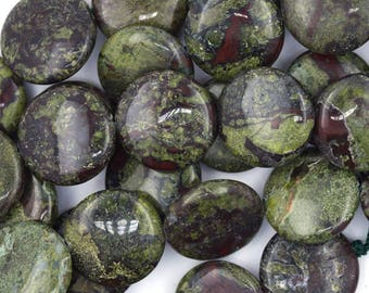 "20mm dragon blood jasper coin beads 15.5"" strand 36792"