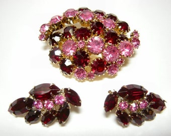 Vintage Pink and Red Rhinestone Pin & Earring Set
