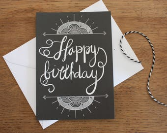 """Card A6, """"Happy birthday"""", calligraphy, black, Slate, typography, design, pattern"""