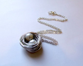 Birds Nest wire wrapped pearl necklace