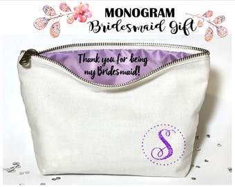 Monogram Personalized Bridesmaid makeup bag- Canvas cosmetic bag- bridesmaid gift- Wedding favors- Bridal gift - Zipper pouches - Weddings