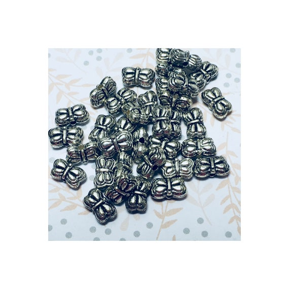 Antique Silver Butterfly Beads 5 x 9 mm, 5 or 10 Beads