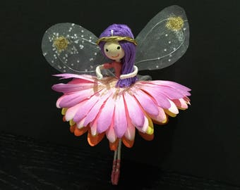 uniquefairyboutique, lemon and pink, miniature fairy, gift for her, keepsake fairy, good luck fairy, flexible fairy, cute fairy, ideal gift