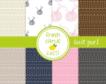 Knit Purl Digital Paper Knitting Needles Ball of Yarn  for Scrapbooking Invitations Cards and Party Decor