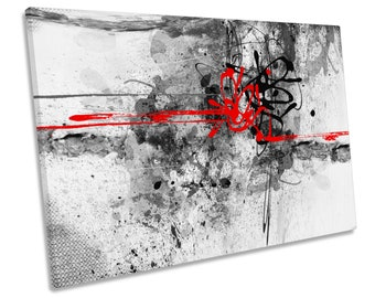 Abstract Grunge Red Black Picture CANVAS WALL ART Print