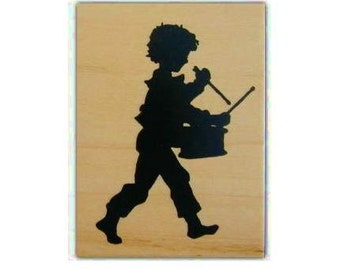 DRUMMER BOY Silhouette lg. mounted music rubber stamp, Christmas, marching band, child drumming, Sweet Grass Stamps No.1