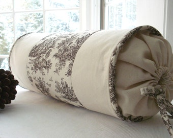 Decorative Designer ..Bolster Pillow Cover----.Choclolate / Cream  Toile on Natural Canvas duck..