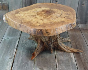 """Rustic Cake Stand, appx 19""""x15""""x2"""" top, 10"""" tall, with tree stump root base, Reclaimed Tree Stump, Texas Pecan, reclaimed wood stump"""