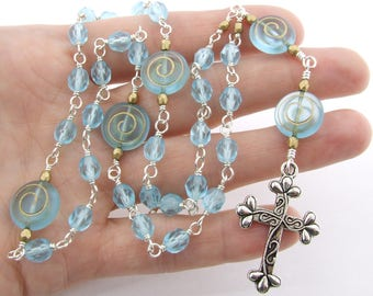 Anglican Prayer Beads - Sky Blue Handmade Unbreakable Wire Wrapped Czech Glass Anglican Rosary - Protestant Prayer Beads - Christian Gift