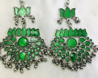 Afghan Lotus Earrings- Indian Oxidized Silver Earrings- Bohemian earrings- Vintage