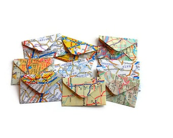 Vintage Paper Atlas Miniature Envelopes, Teeny Tiny Envelopes, Mini Envelopes, Vintage Paper, Travel