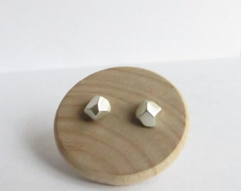 Minimalist Faceted Pebble Stud Sterling Silver Earrings. Sterling Silver Stud Earrings. Minimalist Pebble Studs. Silver Pebble Earrings.