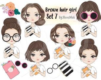Brown hair girl Clip art set 7 , instant download PNG file - 300 dpi