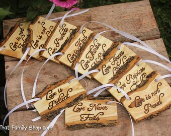 Love is Patient, Set of 10   Cor.13: Rustic Wedding Aisle Decorations Bible Scripture Verses