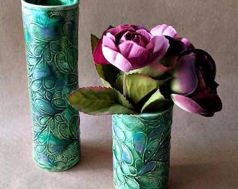 Ceramic Vase Set Peacock Color bud vase flower vase