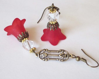 Red Flower Dangle Earrings, Lucite Flower, Antiqued Gold,  Filigree Earrings, Victorian Rose, Swarovski Crystal Earrings, Red Flower Jewelry